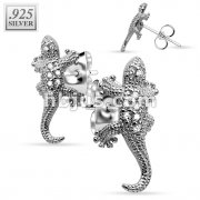 Pair of .925 Sterling Silver Multi Paved Gems Lizard Stud Earrings
