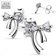 Pair of .925 Sterling Silver Double Gem Ribbon Stud Earrings