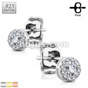 Pair of .925 Sterling Silver Stud Earrings/CZ Paved Round with CZ Center