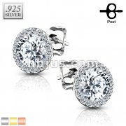 Pair of .925 Sterling Silver Stud Earrings/CZ Paved Round with 5mm CZ Center