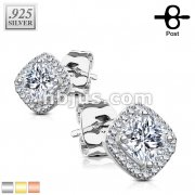 Pair of .925 Sterling Silver Stud Earrings/CZ Paved Square with Cushion CZ Center