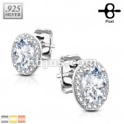 Pair of .925 Sterling Silver CZ Paved Double Tier Oval Solitare CZ Earrings