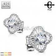 Pair of .925 Sterling Silver CZ Paved Waved Square with round CZ Center Stud Earrings