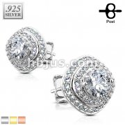 Pair of .925 Sterling Silver CZ Paved Triple Tier Square Stud Earrings