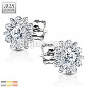 Pair of .925 Sterling Silver Stud Earrings/Double Tiered CZ Set Dahlia Flower