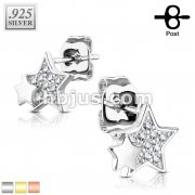 Pair of .925 Sterling Silver CZ Paved Double Star Stud Earrings