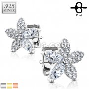 Pair of .925 Sterling Silver Micro CZ Paved and Marquise CZ Flower Stud Earrings