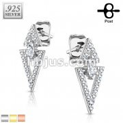 Pair of .925 Sterling Silver CZ Paved Double Triangle with Marquise Solitare CZ Earrings