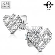 Pair of .925 Sterling Silver CZ Paved Heart Earrings