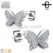 Pair of .925 Sterling Silver Stud Earrings/CZ Paved Butterfly