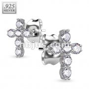 Pair of 925. STERLING SILVER STUD EAR RINGS W/ALL PRONG SET CZ CROSS