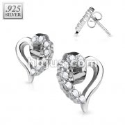 Pair of 925. STERLING SILVER STUD EAR RINGS W/ALL PRONG SET CZ HEART