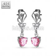 Pair of 925. STERLING SILVER STUD EAR RINGS W/ALL PRONG SET PINK CZ HEART