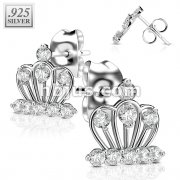 Pair of .925 Sterling Silver Stud Rings w/all Prong Set CZ Crown