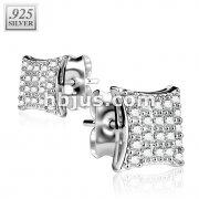 Pair of .925 Sterling Silver Gem Paved Hyperbolic Square Stud