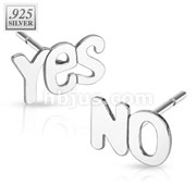 Pair of .925 Sterling Silver YES/NO Stud Earrings