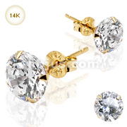 Pair of 14KT. Gold Martini Stud Earring w/Clear CZ
