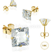 Pair of 14 Karat Gold  Stud Earrings with Square AAA quality CZ