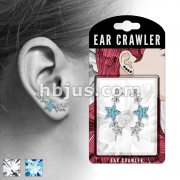 Pair of CZ Paved Stars Prepacked Ear Crawler/Ear Climber