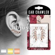 Pair of Marquise Cut CZs and CZ Paved Leaf Prepacked Ear Crawler/Ear Climber