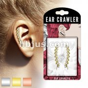 Pair of Crystal Paved Lined Squares Prepacked Ear Crawler/Ear Climber