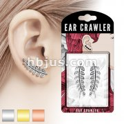 Pair of CZ Paved Olive Leaf Prepacked Ear Crawler/Ear Climber