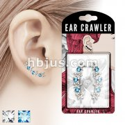 Pair of Round CZs and Hollow Stars Prepacked Ear Crawler/Ear Climber
