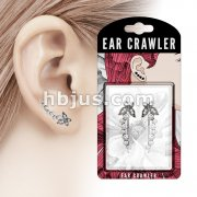 Pair of Antique Silver Finish Crystals Paved Butterfly and Bubbles Prepacked Ear Crawler/Ear Climber