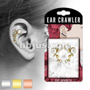 Pair of CZ and Pearl Set Vines Prepacked Ear Crawler/Ear Climber