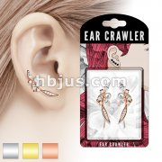 Pair of Paved CZ and Pearl Feather Prepacked Ear Crawler/Ear Climber