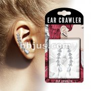 Pair of CZ Paved Lined Triangles with Pear CZ End Prepacked Ear Crawler/Ear Climber