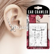 Pair of Princess Cut CZ Cross Prepacked Ear Crawler/Ear Climber