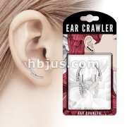 Pair of CZ Paved Vine Prepacked Ear Crawler/Ear Climber