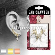 Pair of CZ Paved Feather and Marquise CZ Dangle Prepacked Ear Crawler/Ear Climber