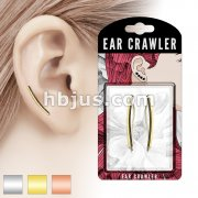 Pair of Pre Packaged Ear Crawlers Curved Square Bar