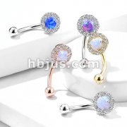 Prong Set Opal Center with CZ Paved Surrounding 316L Surgical Steel Eyebrow Rings/ Curved Barbells