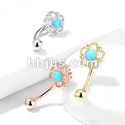 Flower Filigree Turquoise Center Top 316L Surgical Steel Eyebrow Rings/ Curved Barbells