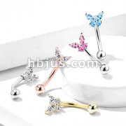 Butterfly CZ Prong Set Top 316L Surgical Steel Eyebrow Rings/ Curved Barbells