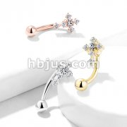 CZ Paved Cross Top 316L Surgical Steel Eyebrow Rings/ Curved Barbells