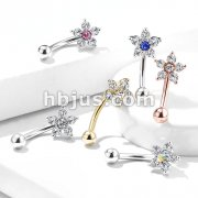 Double Tiered 6 CZ Flower 316L Surgical Steel Eyebrow Rings/ Curved Barbells