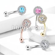 Prong Set Round CZ Center with CZ Paved Surrounding 316L Surgical Steel Eyebrow Rings/ Curved Barbells