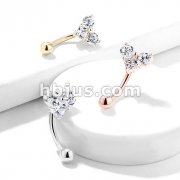 Three Prong Set Round and Square CZ Heart Top 316L Surgical Steel Eyebrow Rings/ Curved Barbells