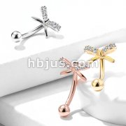 CZ Paved Ribbon Top 316L Surgical Steel Eyebrow Rings/ Curved Barbells