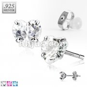Pair of .925 Sterling Silver Stud Earring w/Heart Shaped CZ