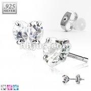 Pair of .925 Sterling Silver Stud Earring w/Heart Shaped CZ