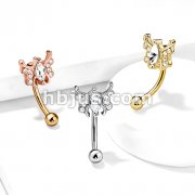 Marquise Crystal Center Crystal Paved Butterfly 316L Surgical Steel Curved Barbells, Eyebrow Rings