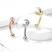 Crescent Moon with Crystal Star 316L Surgical Steel Curved Barbells, Eyebrow Rings