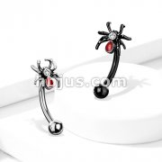 Crystal Set Red Spider 316L Surgical Steel Curved Barbells, Eyebrow Rings