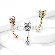 316L Surgical Steel Curved Eyebrow Rings with Owl