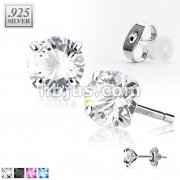 Pair of .925 Sterling Silver Martini Stud Earring w/Round Clear CZ